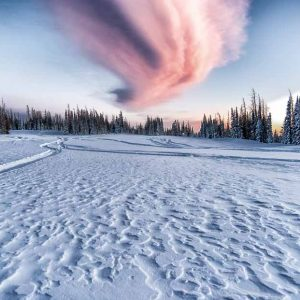 Out of this World   Sunset over snowy landscape by Mark Ruckman